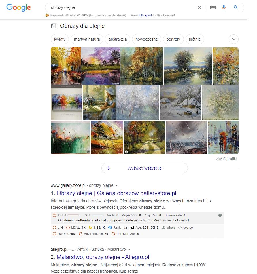 Widok wyszukiwań organicznych w Google
